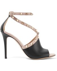 Valentino - Rockstud Two-tone Leather Sandals - Lyst