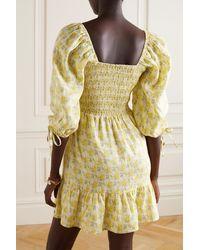 Faithfull The Brand Mini-robe En Lin À Imprimé Fleuri Et À Smocks Romina - Jaune