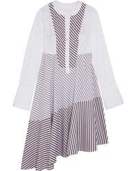 Carven - Asymmetric Paneled Striped Cotton-poplin Midi Dress - Lyst