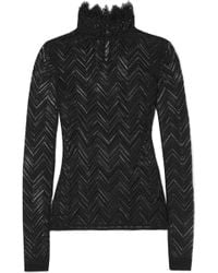 Roland Mouret - Caron Ruffled Chevron Stretch-lace Top - Lyst