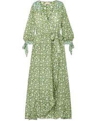 Hannah Artwear Lunar Maxi-wickelkleid Aus Crêpe De Chine Aus Seide Mit Blumenprint - Grün