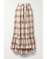 Lisa Marie Fernandez + Net Sustain Nicole Ruffled Checked Linen-blend Gauze Skirt - Multicolour