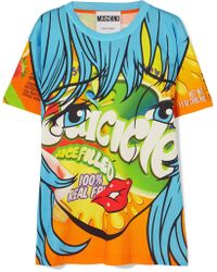 Moschino - Printed Stretch-cotton Jersey T-shirt - Lyst
