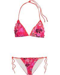 Etro - Ruffled Printed Triangle Bikini - Lyst