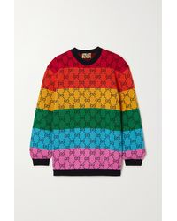 Gucci Gg Multicolour Intarsia Wool And Cotton-blend Jumper - Yellow