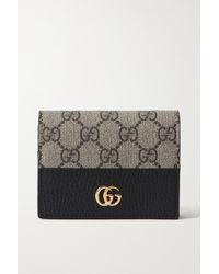 Gucci Gg Marmont Petite Portemonnaie Aus Strukturiertem Leder Und Bedrucktem Beschichtetem Canvas - Schwarz