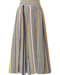 Rosie Assoulin - Pleated Houndstooth Tweed Midi Skirt - Lyst