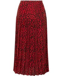 RIXO London Tina Pleated Leopard-print Silk Crepe De Chine Midi Skirt - Red
