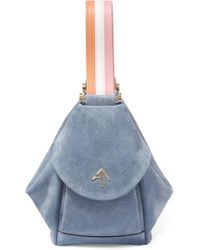 MANU Atelier - Fernweh Micro Bag In Blue Suede Leather And Vegetable Tanned Calfskin - Lyst