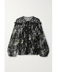 Jason Wu Embroidered Floral-print Tulle And Silk-crepon Blouse - Black