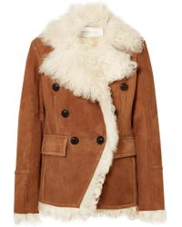 Veronica Beard - Huntley Shearling And Suede Double-breasted Blazer - Lyst