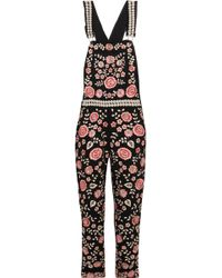 Needle & Thread - Embroidered Embellished Crepe Overalls - Lyst