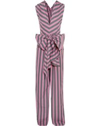 TOME | Bow-detailed Striped Cotton-poplin Jumpsuit | Lyst