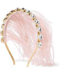 Rosantica Revolution Goldfarbener Haarreif Mit Federn Und Kristallen - Pink