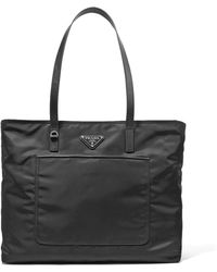 Prada - Vela Leather-trimmed Shell Tote - Lyst