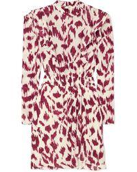 Étoile Isabel Marant Mini-robe En Crêpe De Chine De Soie Imprimé À Volants Yoana - Multicolore