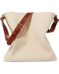 Lanvin - New Hobo Leather-trimmed Cotton-canvas Tote - Lyst