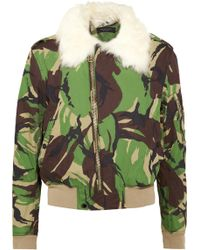 Rag & Bone - Shearling-trimmed Printed Cotton-canvas Bomber Jacket - Lyst