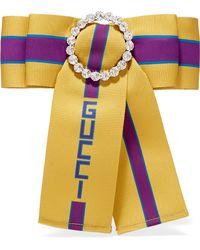 aa93eb8e0f4 Gucci - Crystal-embellished Printed Grosgrain Brooch - Lyst