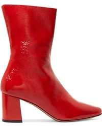 Trademark - Mira Patent Textured-leather Ankle Boots - Lyst