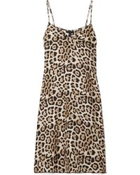 ATM - Leopard-print Silk-charmeuse Mini Dress - Lyst
