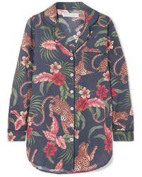 Desmond & Dempsey Chemise De Pyjama En Voile De Coton Imprimé His Shirt For Her - Bleu