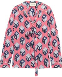 Gucci - Embellished Printed Silk Crepe De Chine Blouse - Lyst