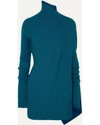 Marques'Almeida Asymmetric Ribbed Metallic Merino Wool Turtleneck Jumper - Blue
