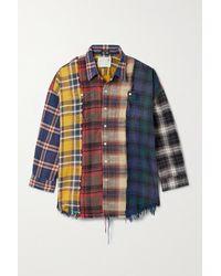 R13 Patchwork-hemd Aus Kariertem Baumwollflanell In Distressed-optik - Rot