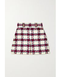Gucci Button-embellished Checked Tweed Mini Skirt - White