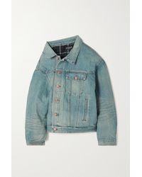 Balenciaga Oversized Asymmetric Padded Denim Jacket - Blue