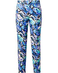 Emilio Pucci - Velvet-trimmed Wool And Silk-blend Twill Slim-leg Pants - Lyst