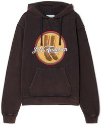 JW Anderson - Printed Cotton-terry Hooded Top - Lyst