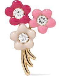 Alison Lou - Bouquet Of Flowers 14-karat Gold, Diamond And Enamel Earring - Lyst