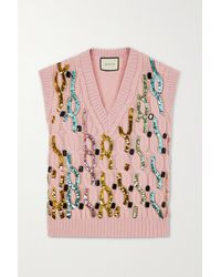 Gucci Embellished Cable-knit Wool Vest - Pink
