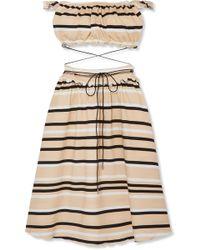 J.W.Anderson - Off-the-shoulder Cutout Striped Cotton-blend Dress - Lyst