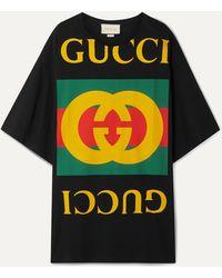Gucci T-shirt Oversize En Jersey De Coton Imprimé - Noir