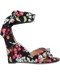 Aquazzura - All Tied Up Printed Canvas Wedge Sandals - Lyst