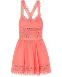 Charo Ruiz Marilyn Crocheted Lace-paneled Cotton-blend Mini Dress - Pink