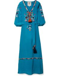 Figue - Lulu Tasselled Embroidered Silk Crepe De Chine Maxi Dress - Lyst