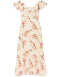 Reformation Robe Épaules Nues En Crêpe À Imprimé Fleuri Et À Volants Butterfly - Multicolore