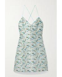 Alice + Olivia Tayla Minikleid Aus Brokat Mit Blumenmuster - Blau