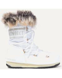 Moon Boot Monaco Schneestiefel Aus Shell Und Kunstleder Mit Faux-fur-besatz - Weiß