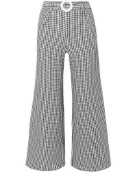 Solid & Striped Belted Cropped Gingham Seersucker Wide-leg Pants - Black