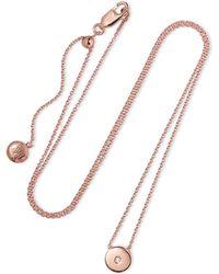 Monica Vinader - Linear Solo Rose Gold Vermeil Diamond Necklace - Lyst