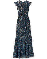 Saloni Tamara Ruffled Metallic Fil Coupé Silk-blend Georgette Maxi Dress - Blue