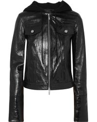 Helmut Lang - Hooded Glossed Textured-leather And Ribbed Wool-blend Jacket - Lyst