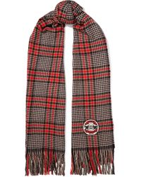 Gucci - Fringed Houndstooth Wool, Silk And Cashmere-blend Scarf - Lyst