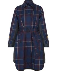 Sacai - Layered Checked Wool And Quilted Shell Coat - Lyst