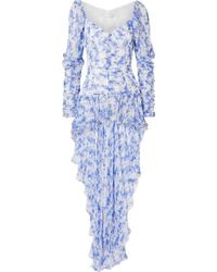 Caroline Constas Mallory Asymmetric Floral-print Silk-chiffon Top - Blue
